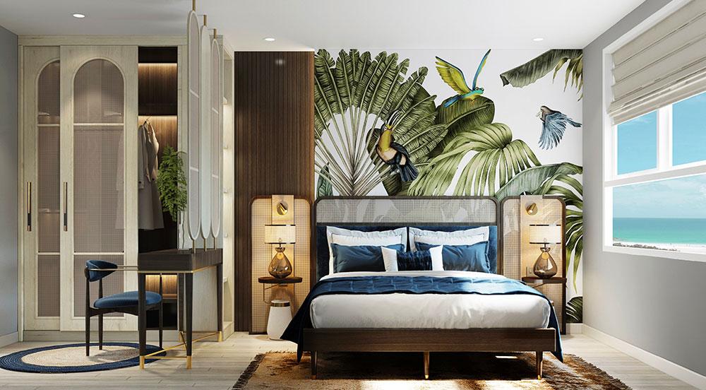 Phòng ngủ ấm cúng và có view trực diện biển