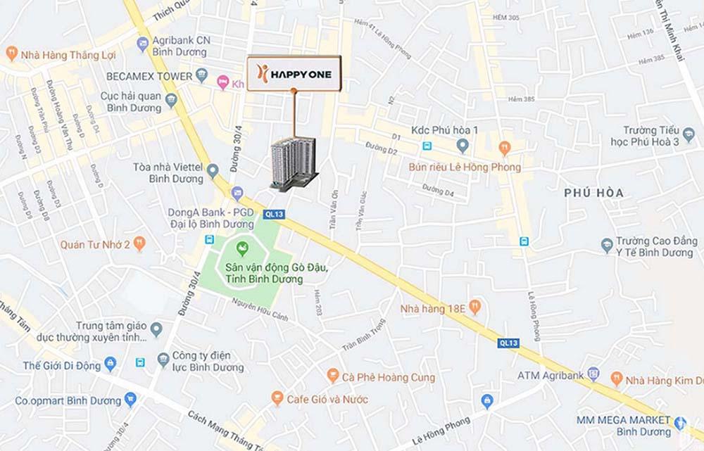 Bản đồ vị trí google map dự án căn hộ Happy One Premier quận 12