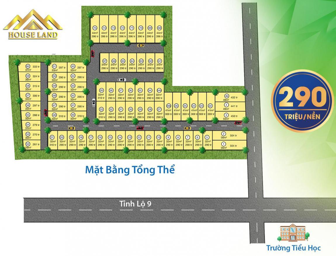 Bảng giá chi tiết từng sản phẩm tại dự án đất nền King Golden Long An (giá gốc F0 từ chủ đầu tư HouseLand)