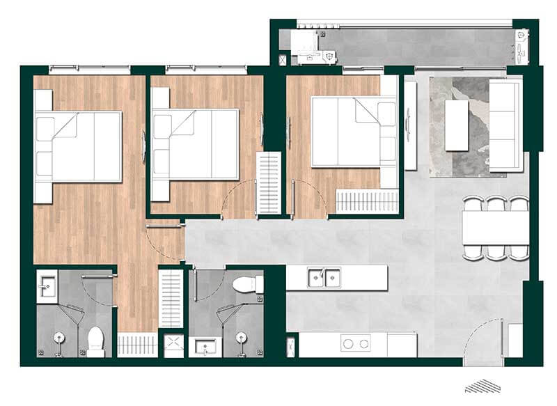 Thiết kế căn hộ 3 phòng ngủ dự án Lavita Thuận An (mẫu 2)
