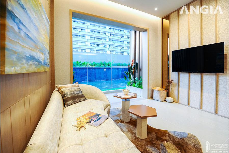 Không gian phòng khách căn hộ mẫu dự án West Gate Bình Chánh