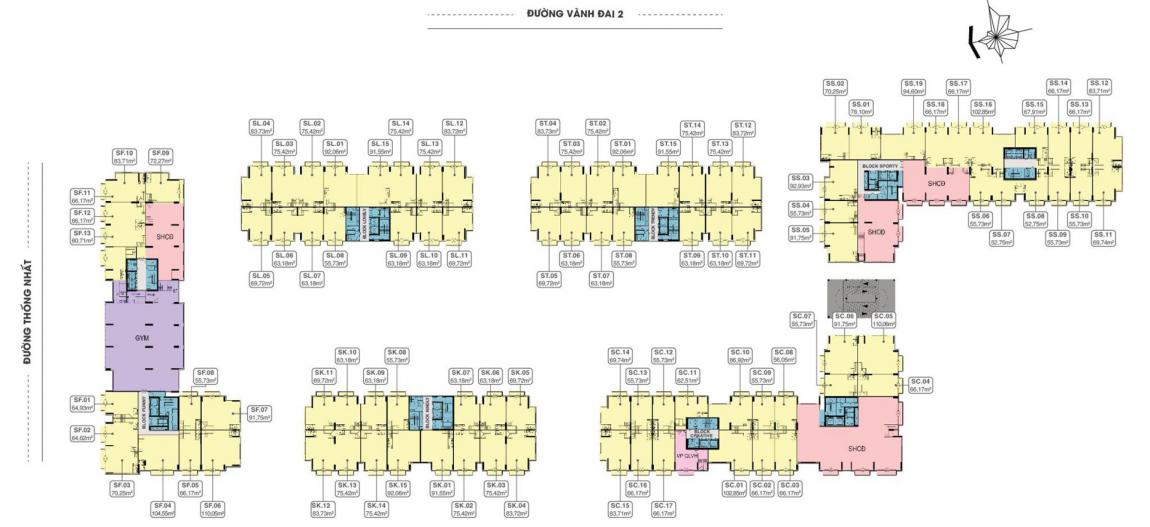 Tầng 2 là nơi tập trung các tiện ích dịch vụ như: Phòng gym, yoga, spa, nhà trẻ...