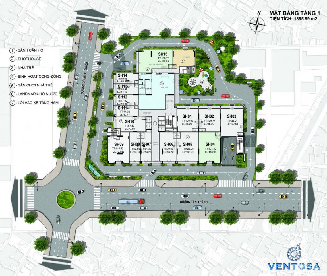 Mặt bằng Tầng 1 dự án căn hộ chung cư Venus Luxury Quận 5, chủ đầu tư Tân Thành.