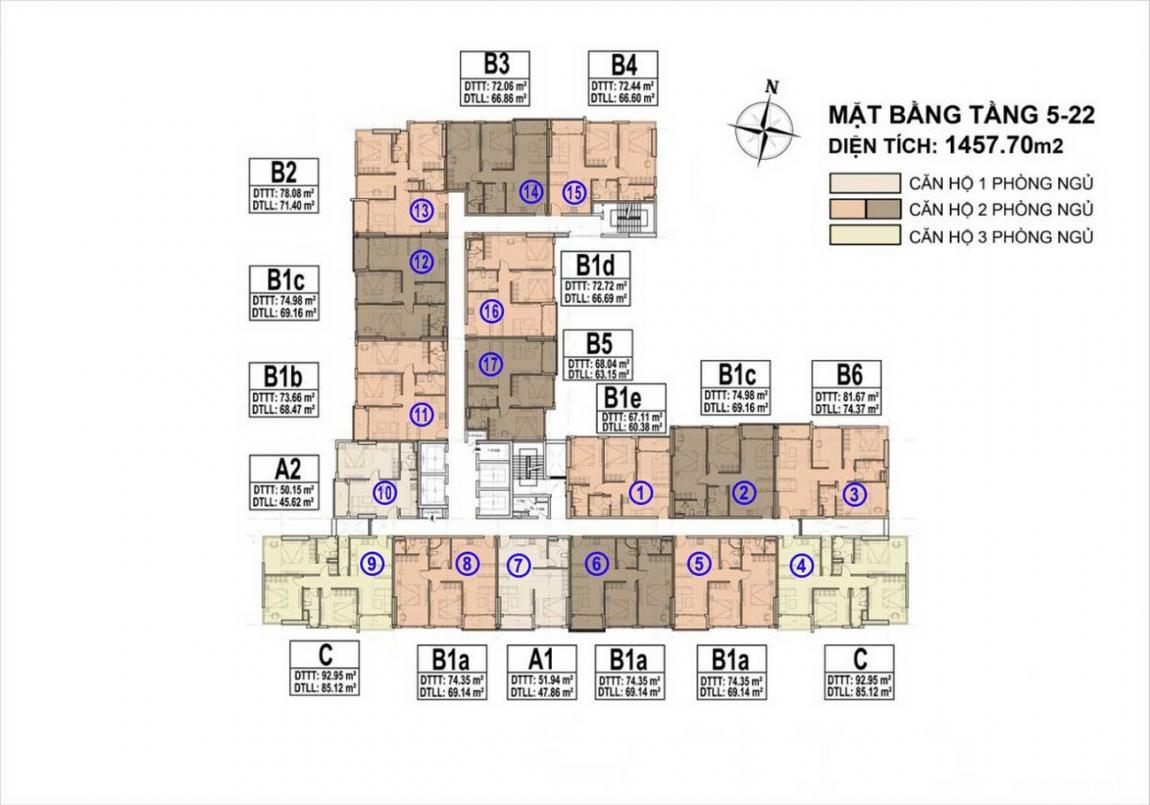 Mặt bằng Tầng 5-22 dự án căn hộ chung cư Venus Luxury Quận 5, chủ đầu tư Tân Thành.