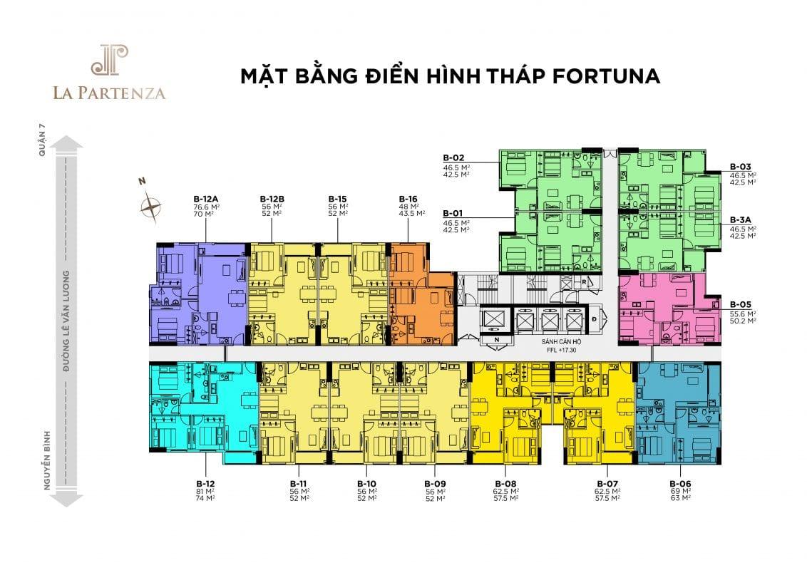 Mặt bằng tầng điển hình tòa tháp Fortuna dự án La Partenza nhà bè