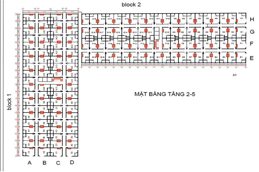Mặt bằng tổng thể Căn Hộ Mini Đại Lộc Hải Sơn với quy mô 2 block chia thành 8 sảnh A, B, C, D và E, F, G, H.
