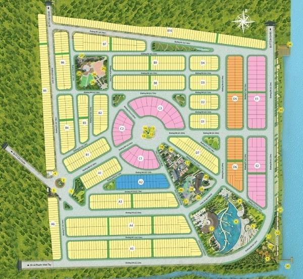 Sơ đồ mặt bằng phân khu dự án đất nền Saigon riverpark Long An