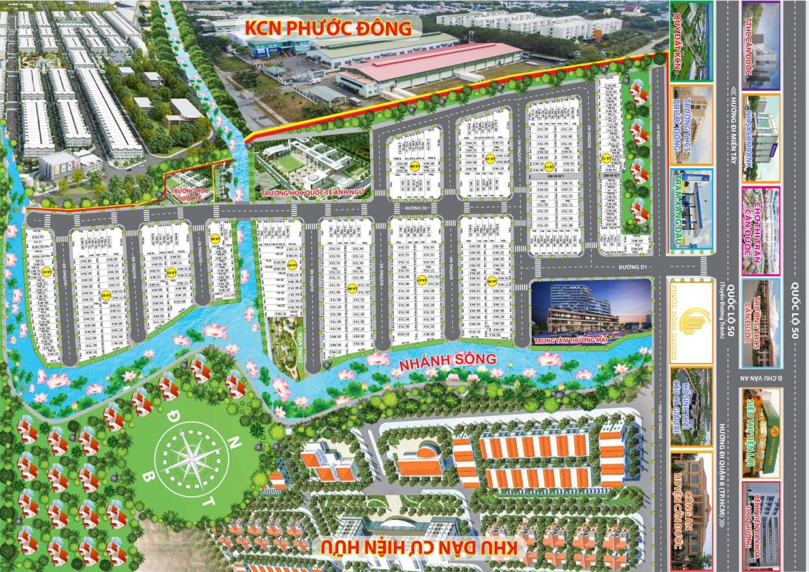 Mặt bằng phân lô chi tiết dự án khu dân cư Phước Đông Garden