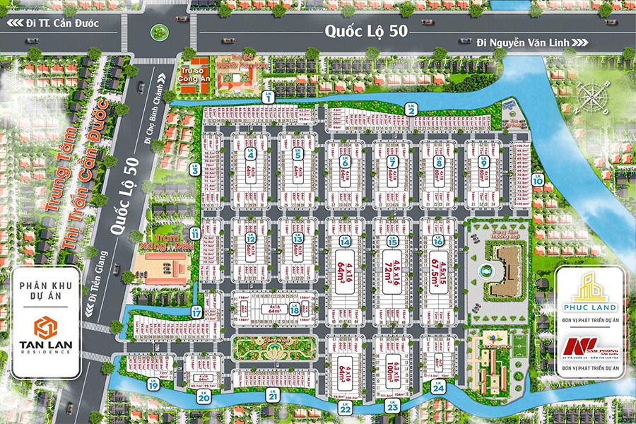 Mặt bằng phân lô chi tiết dự án Tân Lân Residence
