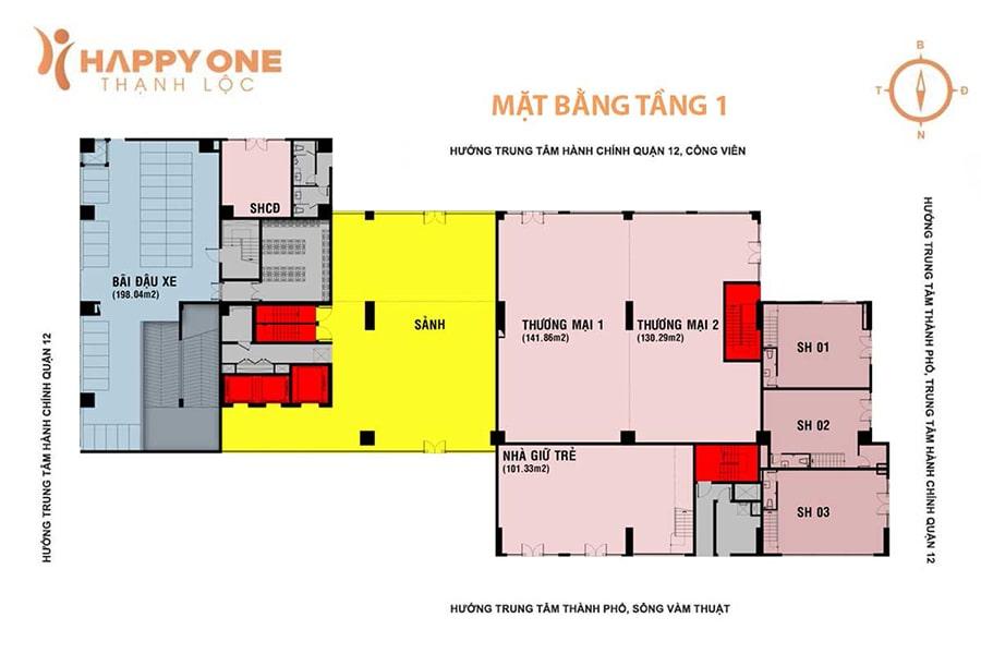 Mặt bằng tầng 1 (tầng trệt) dự án Happy One Premier Thạnh Lộc, quận 12