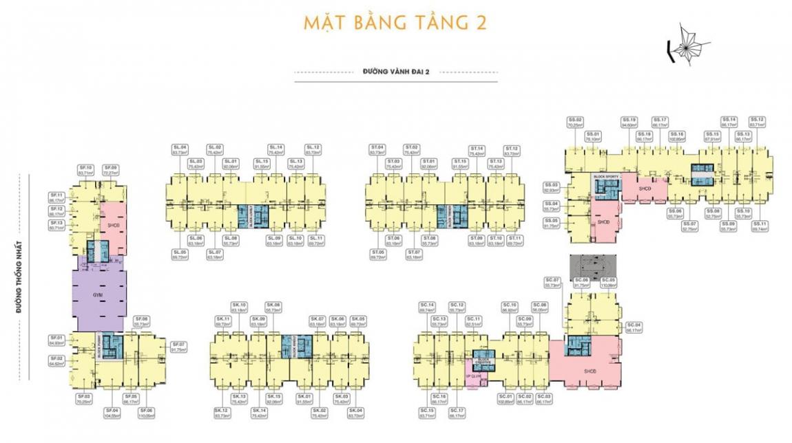Mặt bằng chi tiết tầng 2 dự án căn hộ 9X Next Gen Bình Dương