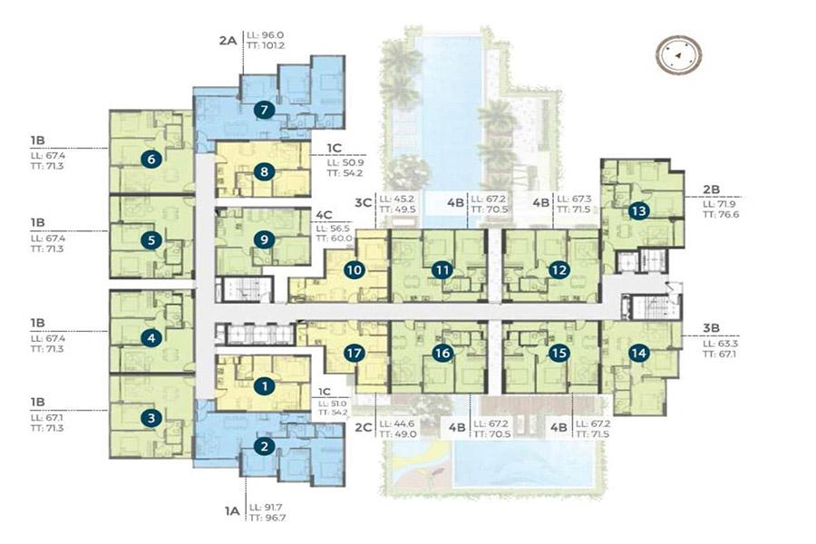 Mặt bằng tầng điển hình dự án căn hộ Precia