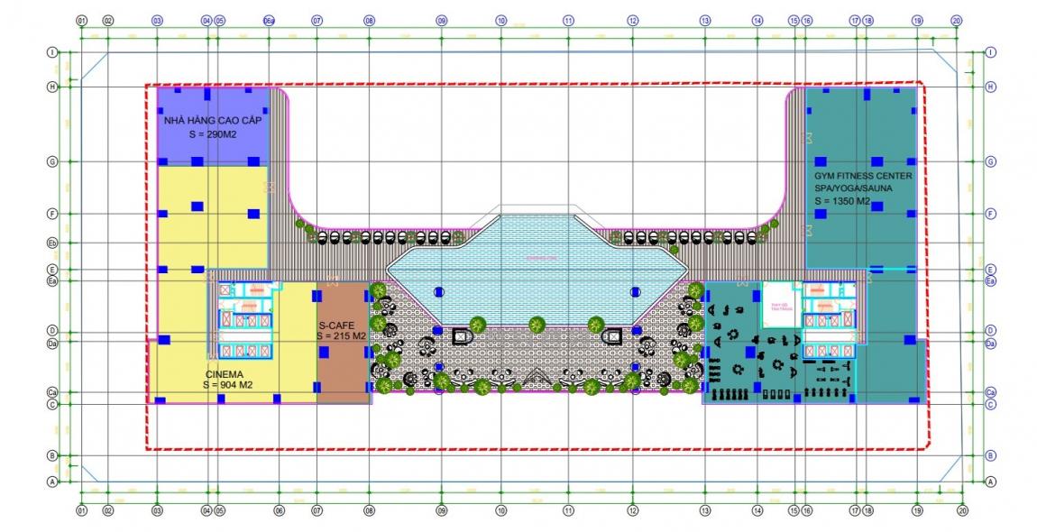Mặt bằng tầng trệt dự án căn hộ Sunshine Horizon quận 4