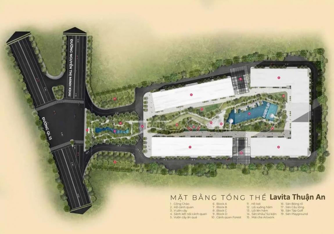 Sơ đồ mặt bằng tổng thể dự án căn hộ Lavita Thuận An