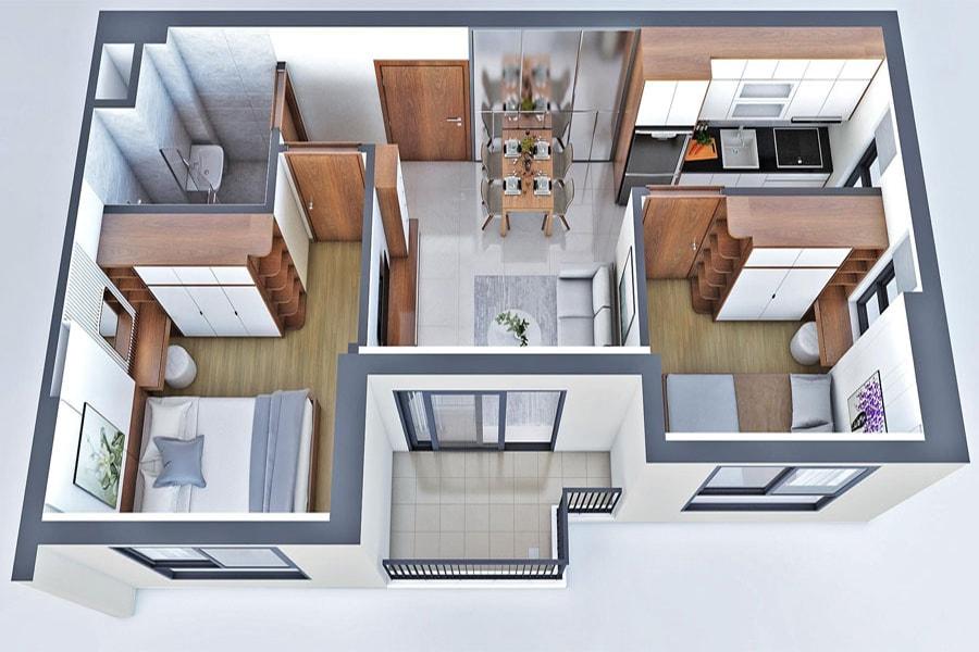 Mô hình 3D chi tiết thiết kế căn hộ 2PN 2WC 65m2 dự án New Galaxy Bình Dương