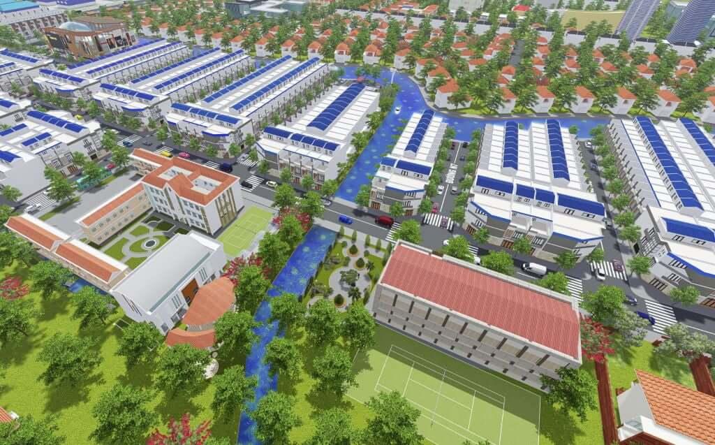 Phối cảnh tổng quan dự án khu đô thị Phước Đông Garden Long An