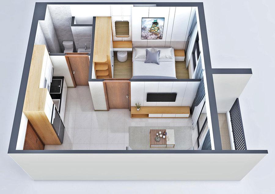 Thiết kế 3D căn hộ 1 phòng ngủ, 1 WC, 50m2 tại dự án New Galaxy Hưng Thịnh