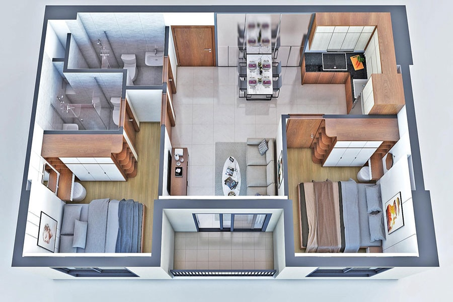 Mô hình thiết kế 3D căn hộ 2 phòng ngủ 2 toilet dự án New Galaxy Hưng Thịnh