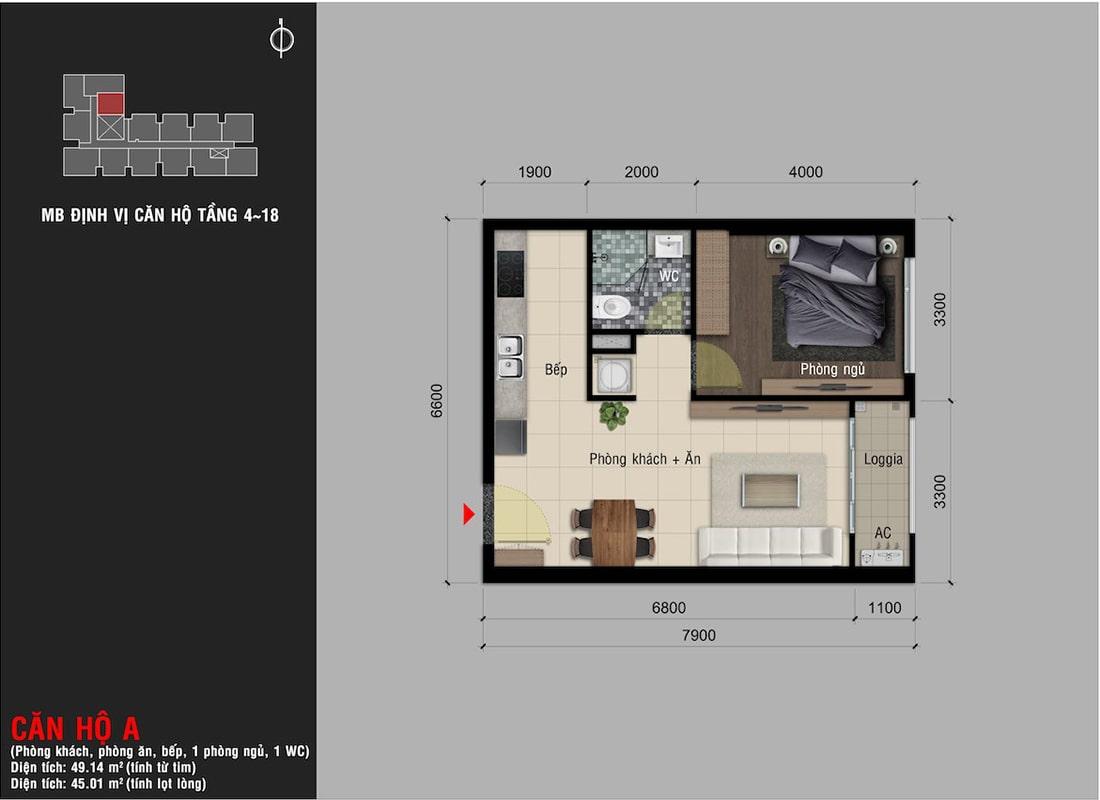 Mẫu thiết kế căn hộ 1 phòng ngủ dự án Happy One Premier Thạnh Lộc