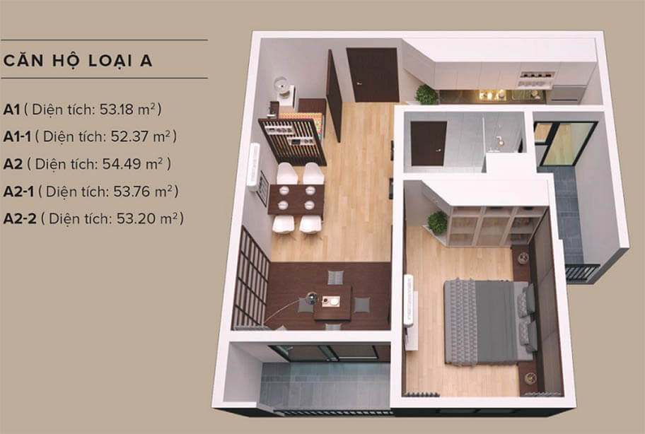 Sơ đồ thiết kế căn hộ 1 phòng ngủ dự án King Crown Infinity Thủ Đức