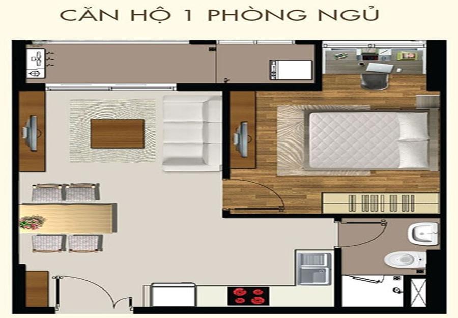 Thiết kế căn hộ 1 phòng ngủ dự án 9X Next Gen - Hưng Thịnh Corp.