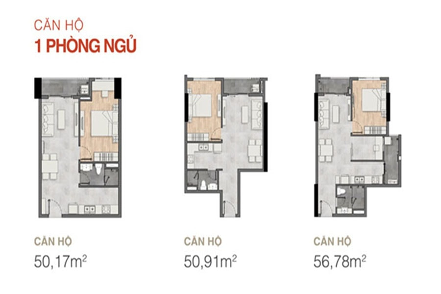 Thiết kế căn hộ 1 phòng ngủ dự án New Galaxy - Hưng Thịnh Corp