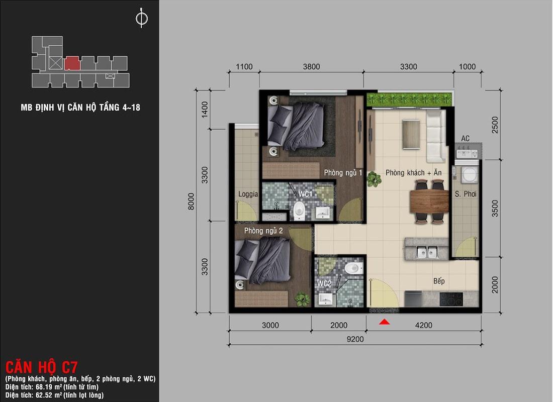 Mẫu thiết kế loại căn hộ 2 phòng ngủ (diện tích 68m2) dự án Happy One Premier Thạnh Lộc