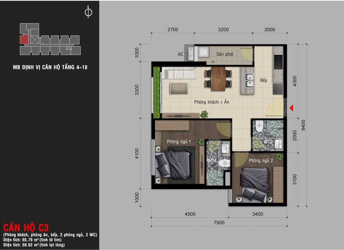 Mẫu thiết kế loại căn hộ 2 phòng ngủ (diện tích 65.7m2) dự án Happy One Premier Thạnh Lộc