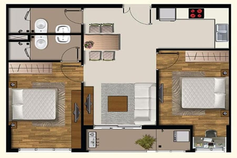 Thiết kế căn hộ 2 phòng ngủ dự án 9X Next Gen - Hưng Thịnh Corp.