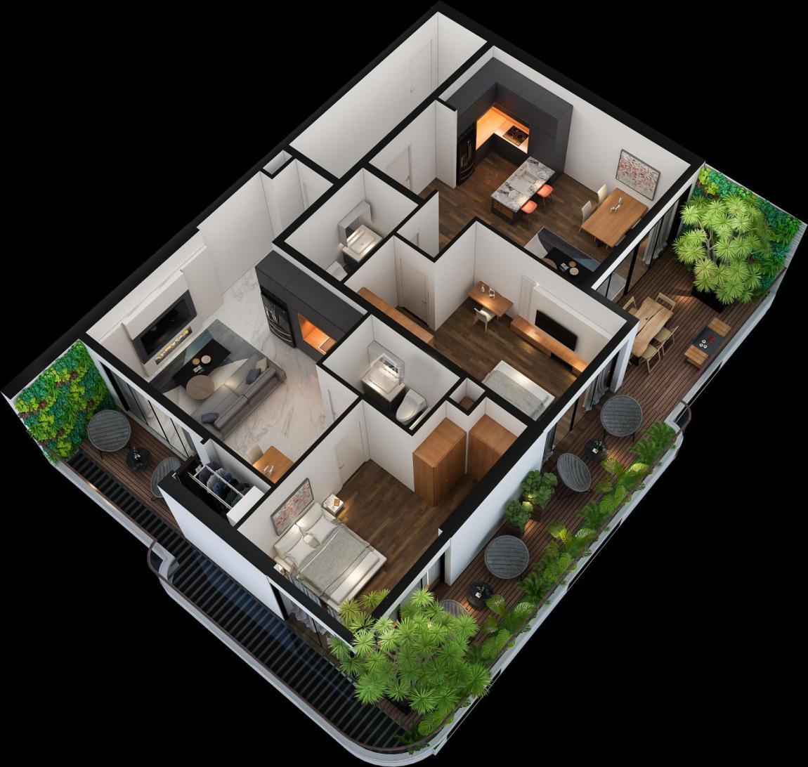 Mô hình thiết kế 3D mẫu căn hộ 2 phòng ngủ dự án Sunshine Horizon Quận 4