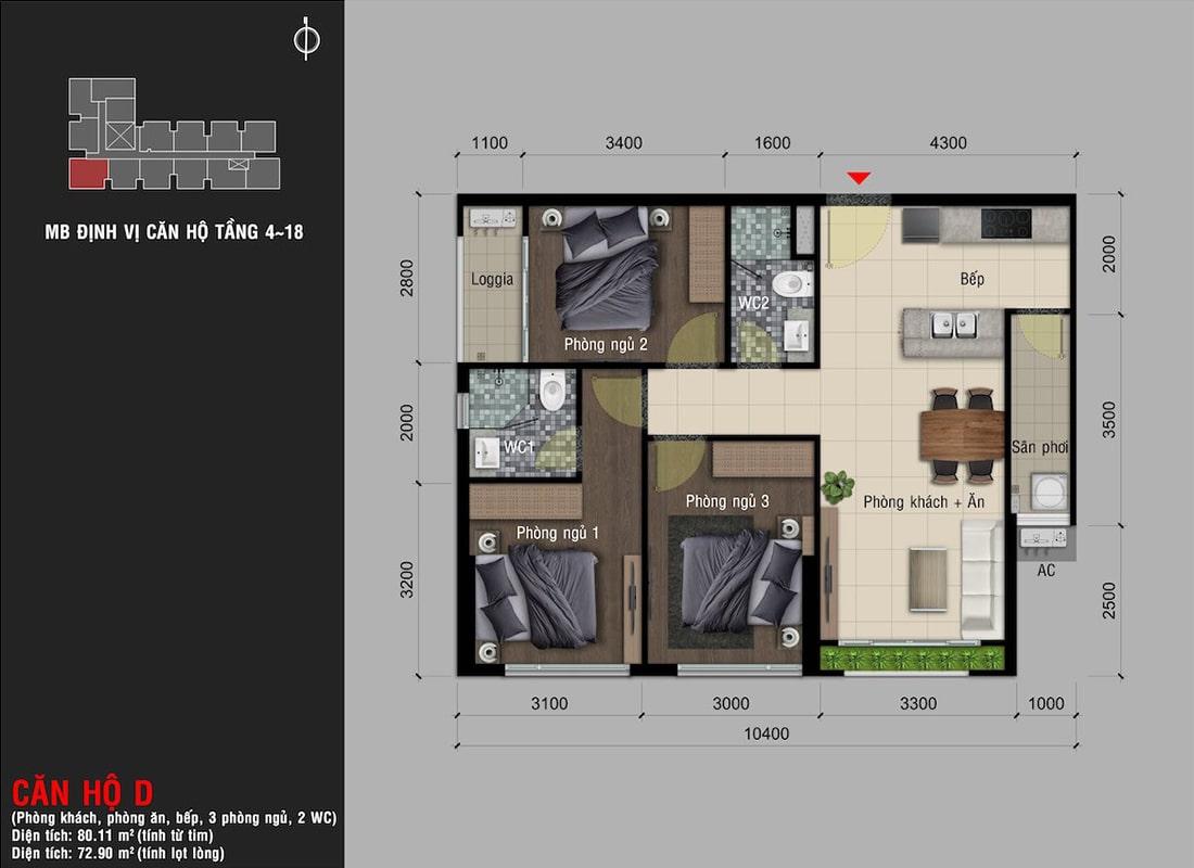 Mẫu thiết kế căn hộ 3 phòng ngủ tại dự án Happy One Premier Thạnh Lộc
