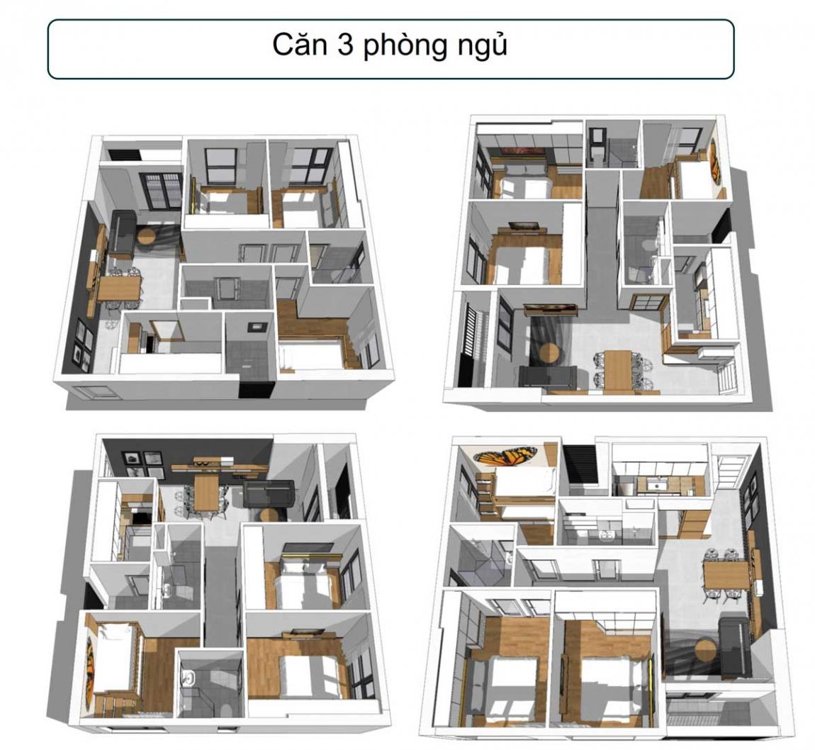 Thiết kế 3D căn hộ 3 phòng ngủ, 2 toilet dự án Phúc Đạt Tower Bình Dương
