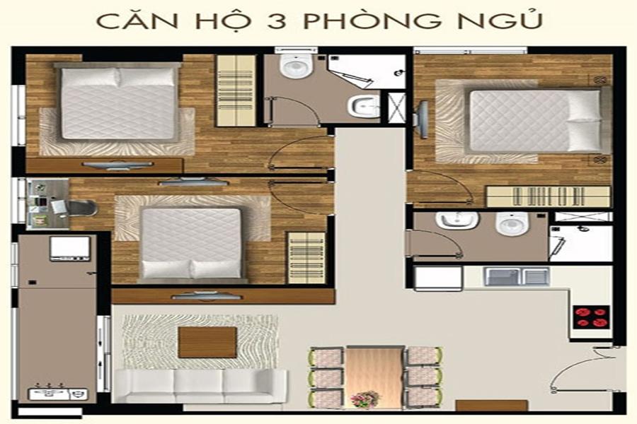 Thiết kế căn hộ 3 phòng ngủ dự án 9X Next Gen - Hưng Thịnh Corp.
