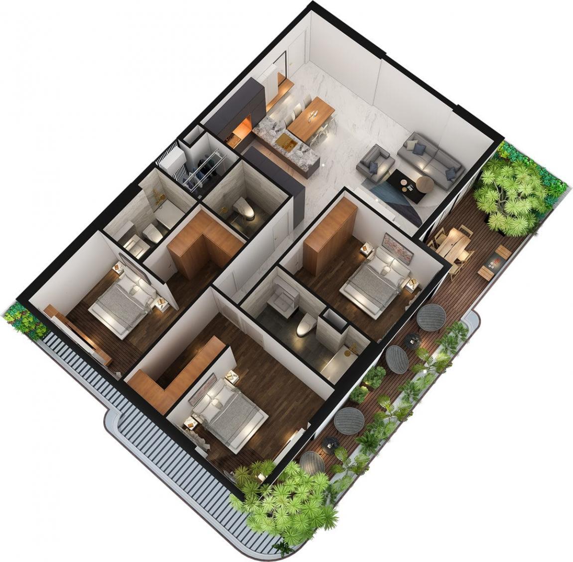 Mô hình thiết kế 3D mẫu căn hộ 3 phòng ngủ dự án Sunshine Horizon Quận 4
