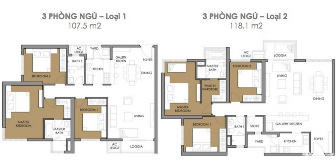 Thiết kế căn hộ 3 phòng ngủ dự án Astral City Bình Dương