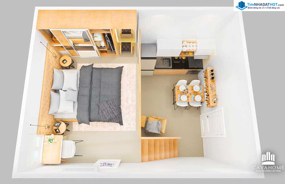 Các căn hộ Cavahome Bình Chánh được thiết kế với đầy đủ tiện nghi và công năng sử dụng dù diện tích chỉ từ 30-36m2