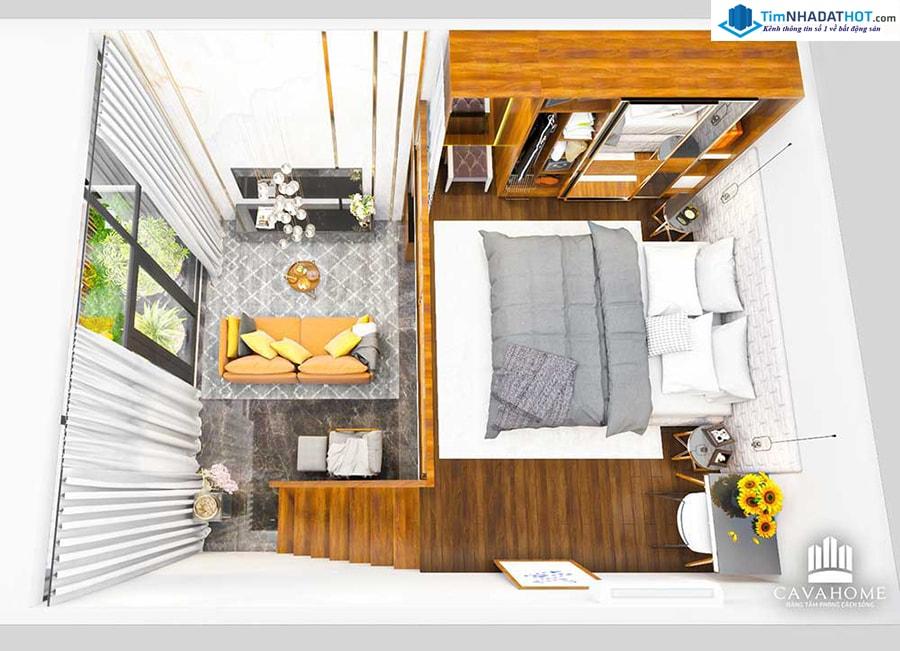 Mô hình hiết kế 3D căn hộ mini Cavahome Bình Chánh