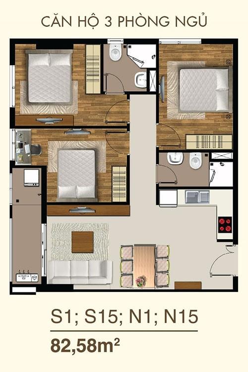 Thiết kế căn hộ 3PN dự án Saigon Mia