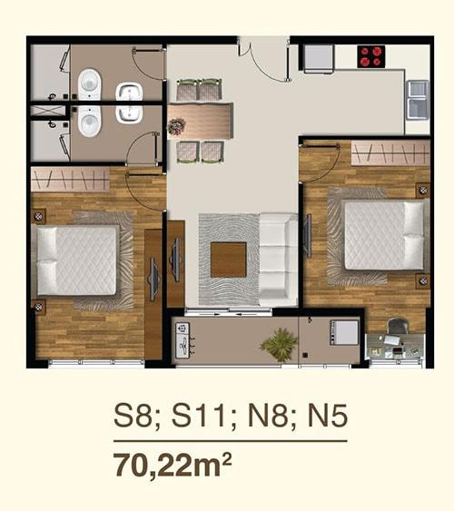 Thiết kế căn hộ 2PN dự án Saigon Mia