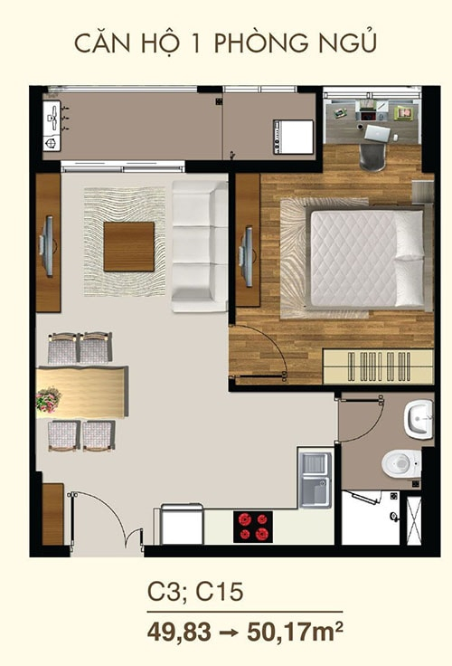 Thiết kế căn hộ 1PN dự án Saigon Mia