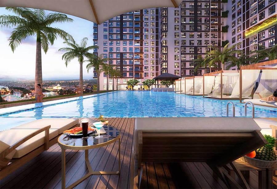 Tiện ích bể bơi vô cực 4 mùa tại tầng 3 dự án King Crown Infinity