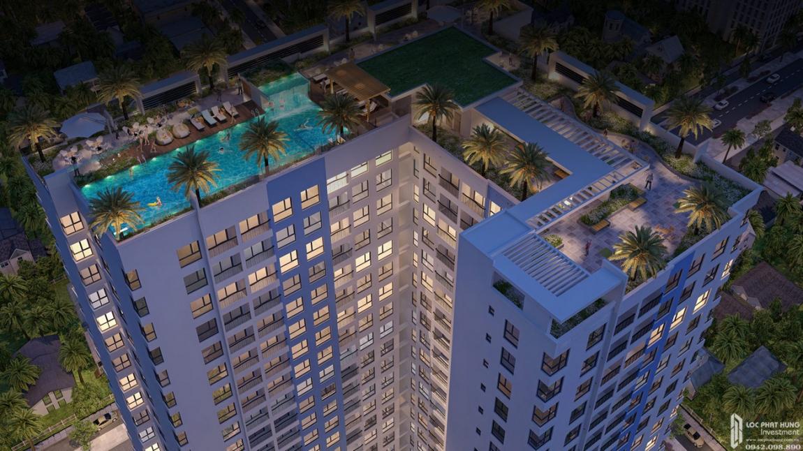 Hồ bơi skyview vô cực đẳng cấp được thiết kế trên sân thượng của dự án Venus Luxury.