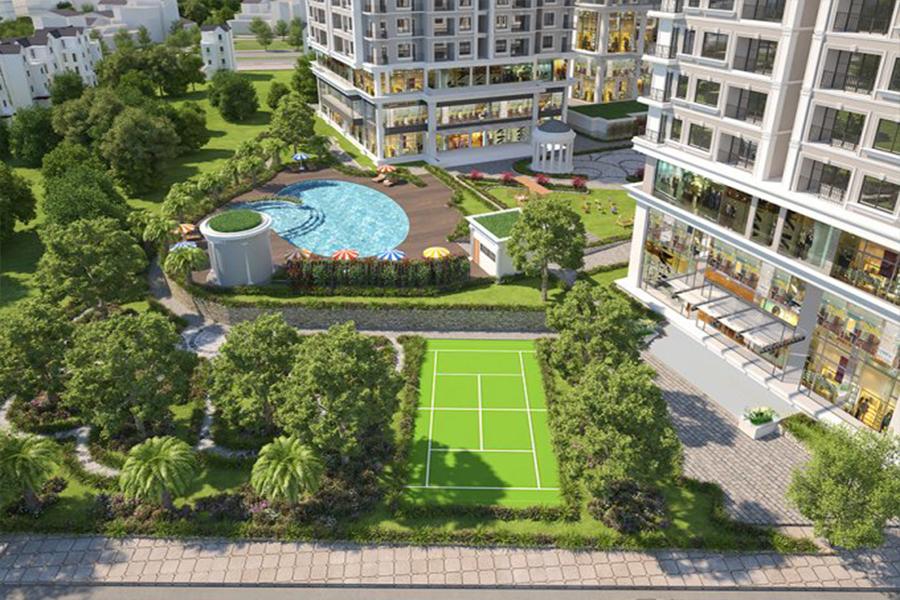 Dự án được chủ đầu tư thiết kế mảng xanh khá rộng ngay bên trong khuôn viên nhằm tạo sự thông thoáng tối đa cho mỗi căn hộ.