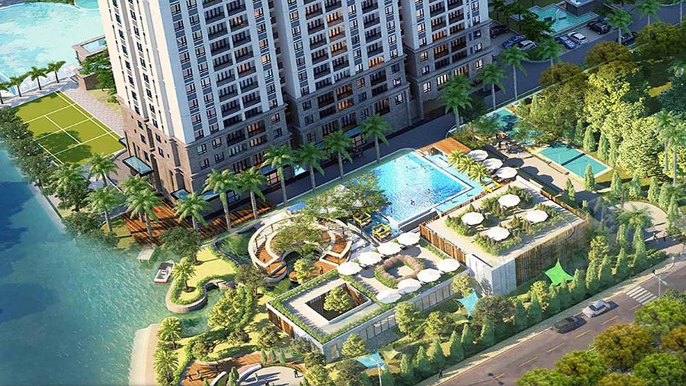 Tiện ích hồ bơi và công viên cây xanh dự án căn hộ La Partenza Nhà Bè