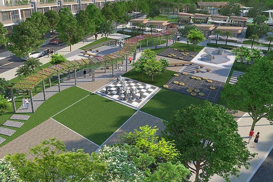 Công viên cây xanh và đường đi bộ tại dự án Saigon Riverpark Cần Giuộc Long An