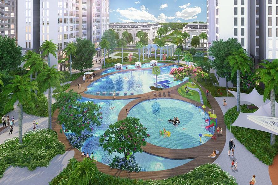 Tiện ích hồ bơi và công viên cảnh quan tại dự án Opal Skyline