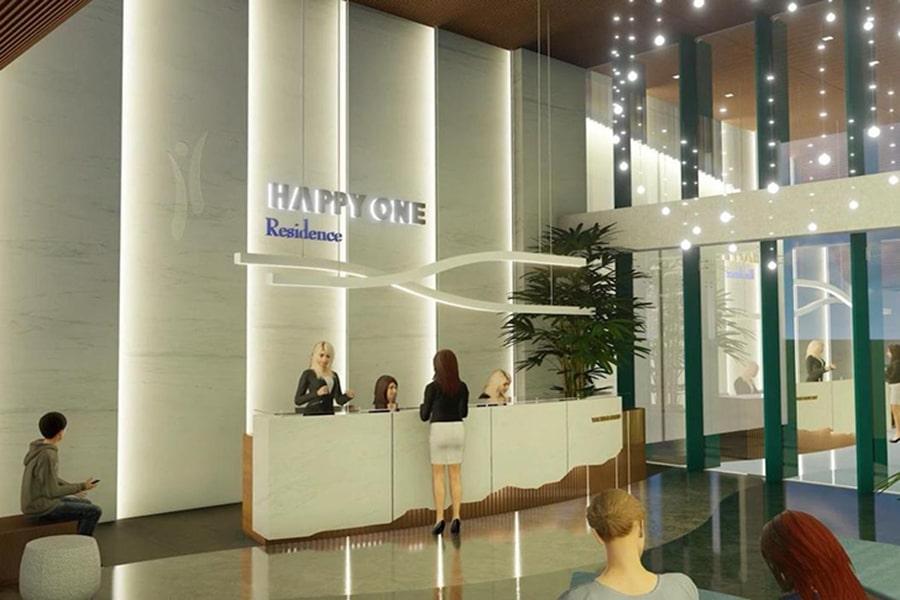Sảnh chờ lễ tân căn hộ Happy One Premier rộng rãi và sang trọng tương tự khách sạn 5 sao cao cấp