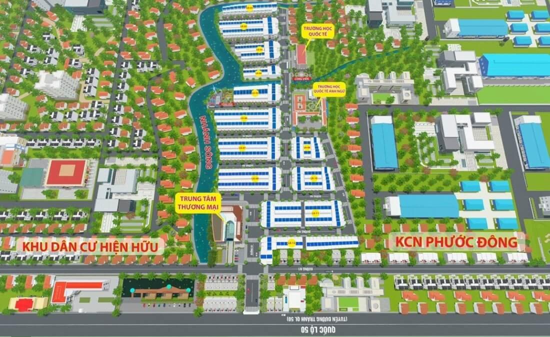 Sơ đồ chi tiết hệ thống tiện ích nội khu dự án Phước Đông Garden