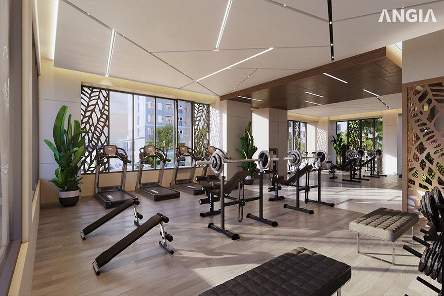 Tiện ích phòm gym sang trọng tại khu phức hợp căn hộ cao cấp West Gate Bình Chánh
