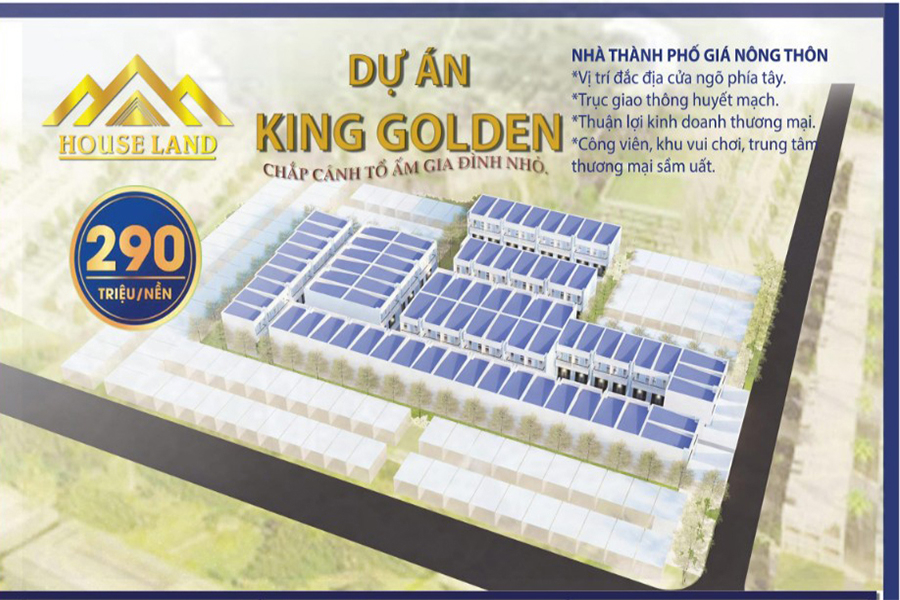 Phối cảnh tổng thể dự án đất nền, nhà phố King Golden Long An do công ty TNHH HouseLand làm chủ đầu tư.